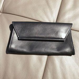 ZARA structured black clutch bag